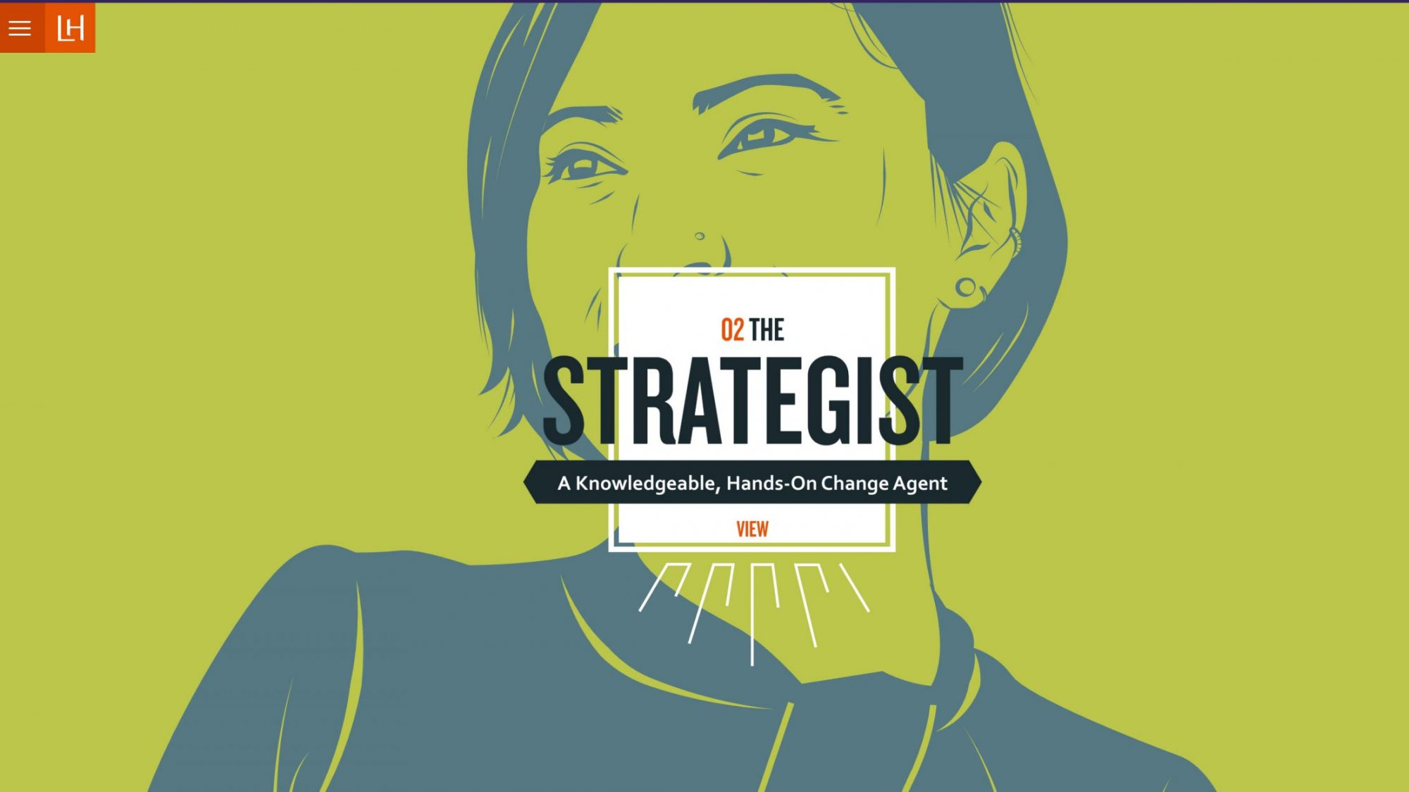 Image text: The Strategist. Bold line illustration of a woman gazing confidently into the middle distance.