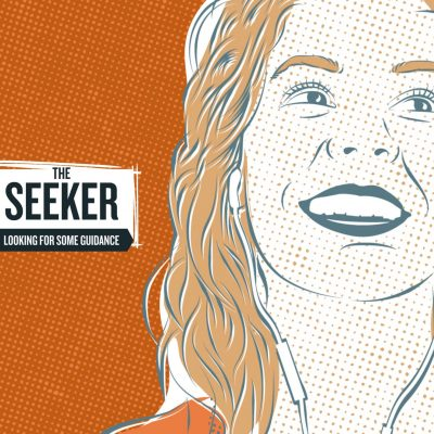 """Persona hero image from our Adult Learners website. """"The Seeker"""", woman illustrated like a comics hero."""