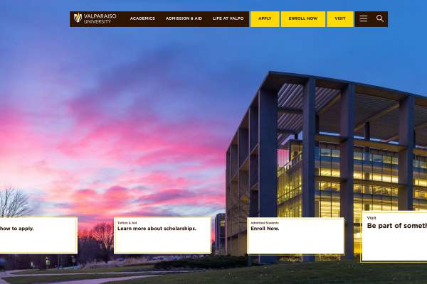 Screenshot of the valpo dot edu website, showing the home page.