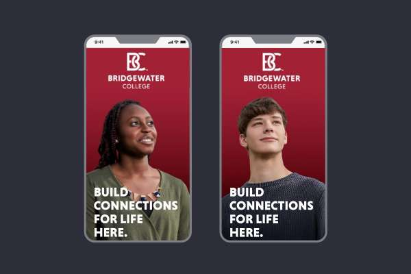 Image text: Build connections for life here. Shows two mobile phones with optimistic-looking students on screens.